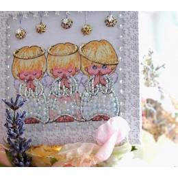 Набор вышивки хрустальными бусинами - Образа в каменьях - Ангелочки (магнит)