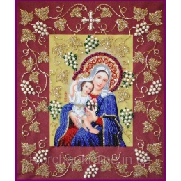 Икона БОГОРОДИЦА ПОКРЫВАЮЩАЯ В РАМКЕ - Изящное рукоделие - вышивка бисером икон