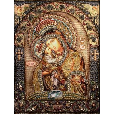 Почаевская Икона Божией Матери - Образа в каменьях - вышивка бисером икон