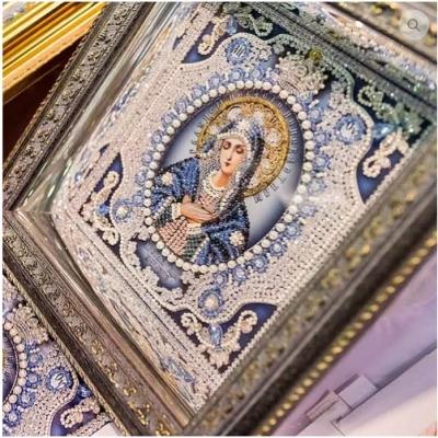 Богородица Умиление (с натуральным жемчугом) - Образа в каменьях - вышивка бисером икон