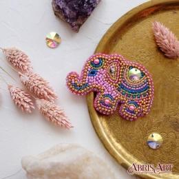 Набор для вышивки бисером - Абрис Арт - Розовый слоненок (украшение)