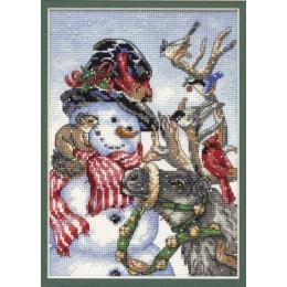 Снеговик и северный олень - Dimensions - набор для вышивки крестом