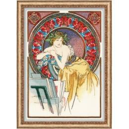 «Девушка с мольбертом» по мотивам произведения А. Мухи» - РИОЛИС - набор для вышивки крестом