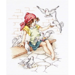 Девочка с голубями В1051 - Luca-S - набор для вышивки крестом