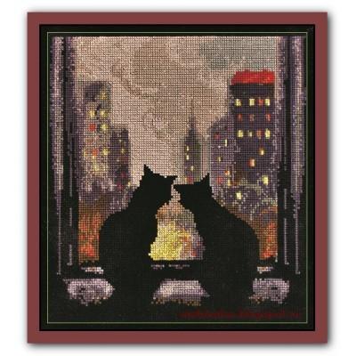 Набор вышивки крестом - Алисена - Кошки на окошке
