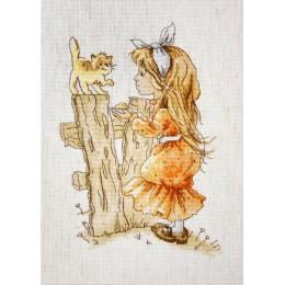 С котенком - Luca-S - набор для вышивки крестом