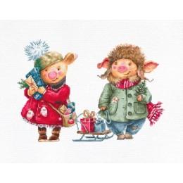 Рождественские свинки - Luca-S - набор для вышивки крестом