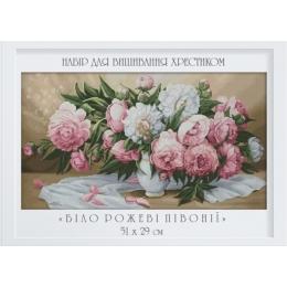 Бело-розовые пионы - Dantel - набор вышивки крестом