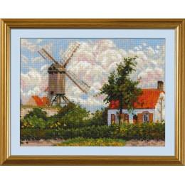 «Ветряная мельница в Кноке» по мотивам картины К. Писсарро - РИОЛИС - набор для вышивки крестом