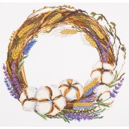 Венок с лавандой и хлопком - PANNA - набор вышивки крестом