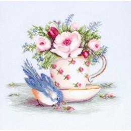 Набор для вышивки крестом - Luca-S - BA2324 Птичка и чашка чая