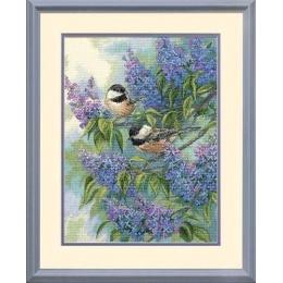 Chickadees and Lilacs (Синицы и сирень) - Dimensions - набор вышивки крестом