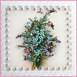 Бутоньерка с незабудками (магнит) - Образа в каменьях - набор вышивки хрустальными бусинами