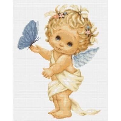 Набор вышивки крестом - Luca-S - Ангелочек с бабочкой