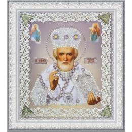 Икона Святителя Чудотворца (серебро) ажур - Картины бисером - вышивка бисером икон