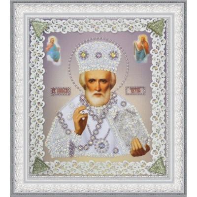 Вышивка бисером икон - Картины бисером - Икона Святителя Чудотворца (серебро) ажур