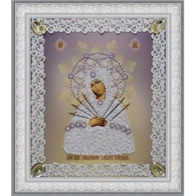 Вышивка бисером икон - Картины бисером - Икона Божьей Матери Семистрельная (ажур) Р-373