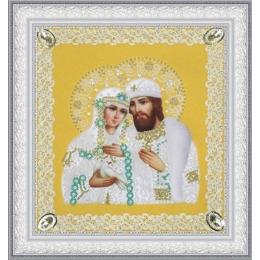 Святые Петр и Феврония (ажур) золото - Картины бисером - вышивка бисером икон