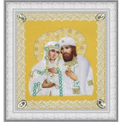 Вышивка бисером икон - Картины бисером - Святые Петр и Феврония (ажур) золото Р-375