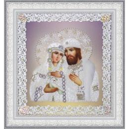 Святые Петр и Феврония (ажур) серебро - Картины бисером - вышивка бисером икон