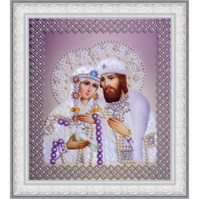 Вышивка бисером икон - Картины бисером - Святые Петр и Феврония (жемчуг) серебро