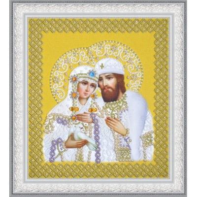 Святые Петр и Феврония (жемчуг) золото - Картины бисером - вышивка бисером икон