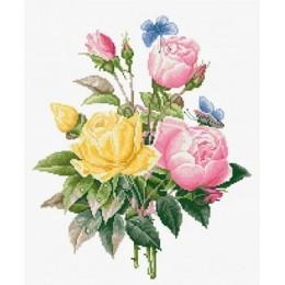 Желтые розы и бенгальские розы - Luca-S - набор для вышивки крестом