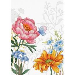 Цветы и бабочка - Luca-S - набор для вышивки крестом