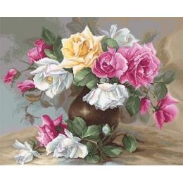 Ваза с розами - Luca-S - вышивка гобеленовым швом