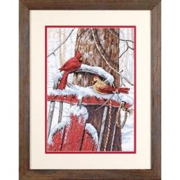 Cardinals on Sled (Кардиналы на санях) - Dimensions - набор вышивки крестом