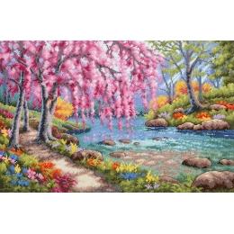 Цветение вишни над ручьем (Cherry Blossom Creek) - Dimensions - набор вышивки крестом