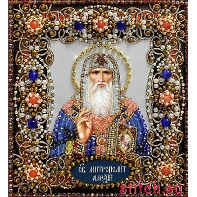 Святой Алексий - Образа в каменьях - вышивка бисером икон