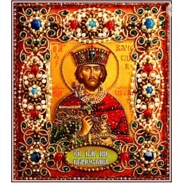 Святой Вячеслав - Образа в каменьях - вышивка бисером икон