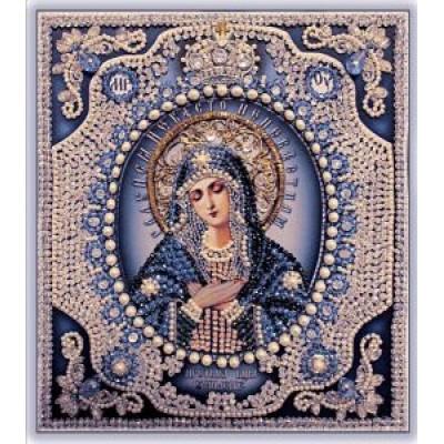 Вышивка бисером икон - Образа в каменьях - Богородица Умиление (с жемчугом Майорика)