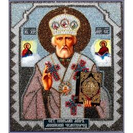 Николай Чудотворец (храмовая икона) - Образа в каменьях - вышивка бисером икон