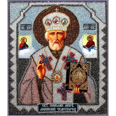 Вышивка бисером икон - Образа в каменьях - Николай Чудотворец (храмовая икона)