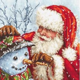 Дед Мороз и Снеговик - LETISTITCH - набор для вышивки крестом