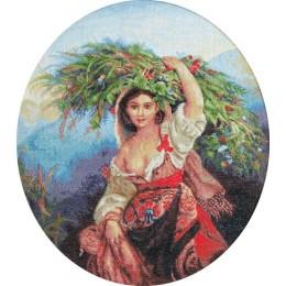 Итальянка с цветами - Luca-S - вышивка гобеленовым швом