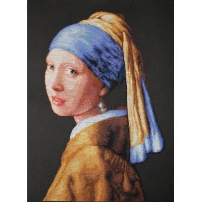 Девушка с жемчужиной - Luca-S - вышивка гобеленовым швом