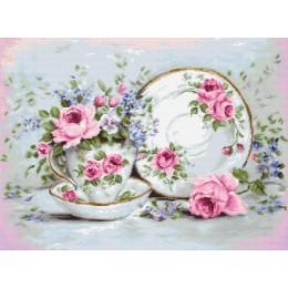 Трио и цветы - Luca-S - вышивка гобеленовым швом