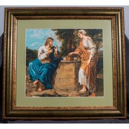 Вышитая картина Иисус и самаритянка (гобелен)