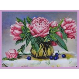 Набор для вышивки бисером - Картины бисером - Р-254 Натюрморт с пионами