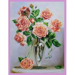 Набор для вышивки бисером - Картины бисером - Розы на мраморном столике
