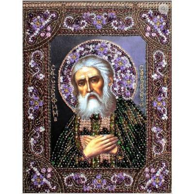 Преподобный Серафим Саровский - Образа в каменьях - вышивка бисером икон