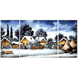 Авторский набор для вышивки бисером - Токарева А. - 35-5550-НЗТ Зимушка в деревне