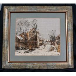 Вышитая картина Зима в Барбизоне (гобелен)