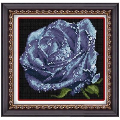 Набор для рисования камнями 1191 Синяя роза с росинками