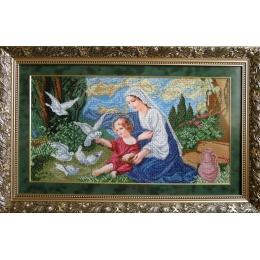 Богородица и голуби - БС Солес - вышивка бисером икон