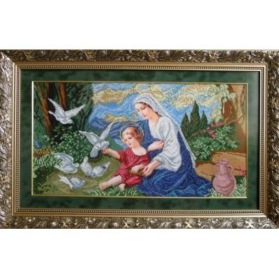 Набор для вышивки бисером икон - БС Солес - Богородица и голуби