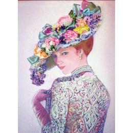 Набор для вышивки бисером и лентами - Изящное Рукоделие - Дама в жемчужном колье